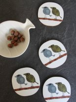 Box of 4 coasters Family of Birds David Weidman