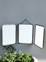 Triptych nickel mirror middle size, factory deco, Chehoma