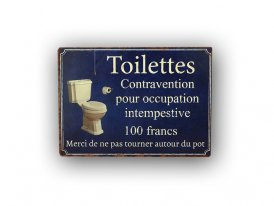 Plaque décorative Toilettes contravention Antic Line