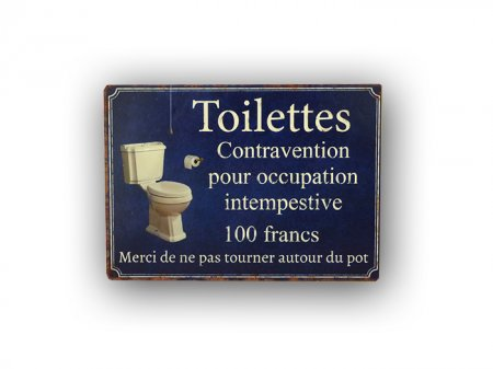 Metal sign Toilettes Contravention, bistro style, Antic Line