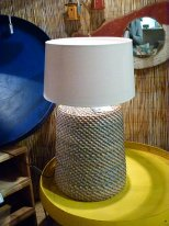 Grey and beige rattan light, seaside decor, Chehoma