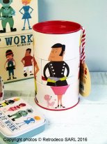 Tirelire métal World of Work, déco vintage, Rex International