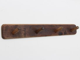 Wood coat rack with 4 hooks, country decor, Athezza