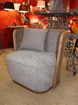 Fabric and natural wicker armchair Gabin Chehoma