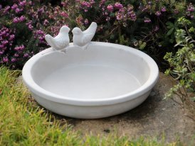 Terra cotta birth bath Birds, countryside style, Ib Laursen