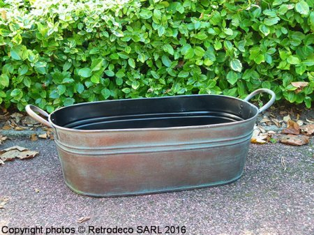 Metal verdi gris oval planter, countryside style, Tobs