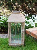 Large grey metal and glass lantern, antique style