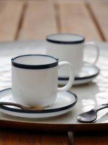 White porcelain cup and saucer expresso with blue border Chehoma