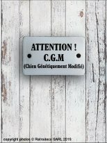 Enamelled sign Attention ! Chien CGM, antique deco