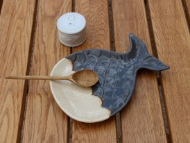 Ceramic aperitif plate Whale grey, seaside decor, Chehoma