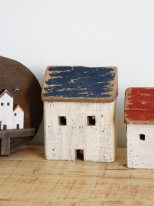 Wooden blue fishman house, seaside decor, Chehoma
