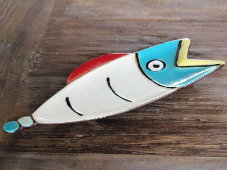 Colored stoneware tray Fish Comic, seaside style, Chehoma