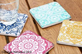 Set of 4 resin coaster Azulejos Chehoma
