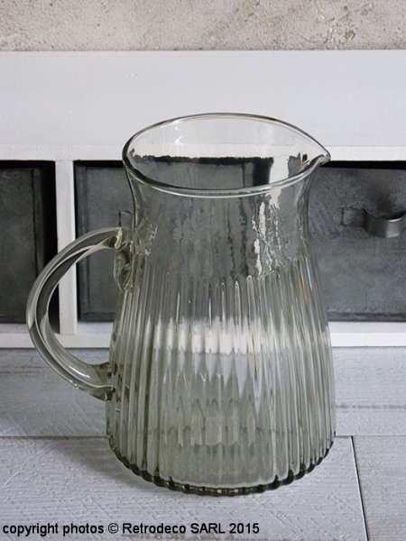 Glass Pitcher with grooves, countryside deco, Ib Laursen
