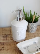 Ceramic soap dispenser white, shabby deco, Chehoma