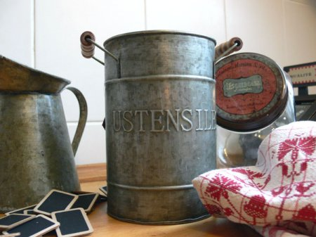 Pot zinc Ustensiles, déco brocante, Antic Line