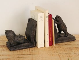 Bookends detective bears, mountain decor, Chehoma