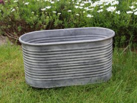 Large zinc oval pot with stripes, country decor