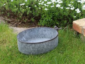Small zinc basin Cobblestone Bird, countryside decor, Krentz