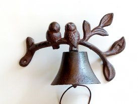 Cast iron bell 2 birds, campagne decor, Antic Line