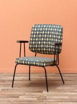 Metal and fabric chair with armrests, vintage decor, Chehoma