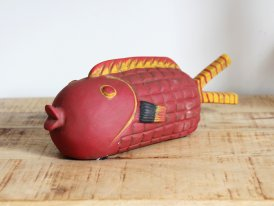 Red and Plump terra cotta fish, seaside decor, Chehoma