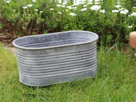Medium zinc oval pot with stripes, country decor