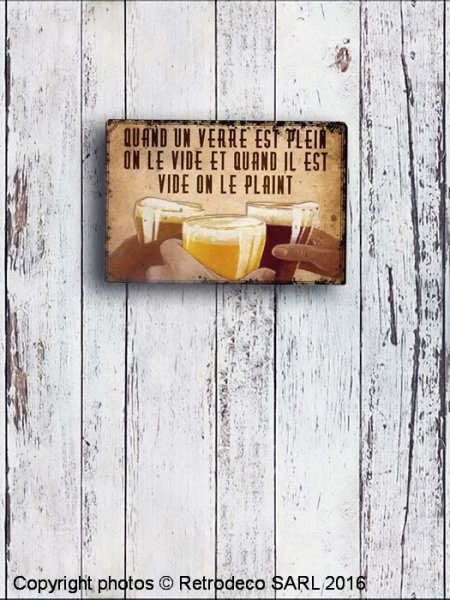 Metal sign Quand un verre est plein..., bistro deco, Antic Line