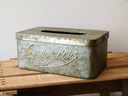 nouveaux articles pas cher tout neuf Boîte à mouchoirs zinc Servez-vous, déco brocante, Antic ...