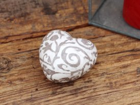 Ceramic paperweight brown heart