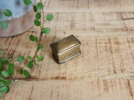 Engraved brass pills box rectangular, antique decor, Chehoma