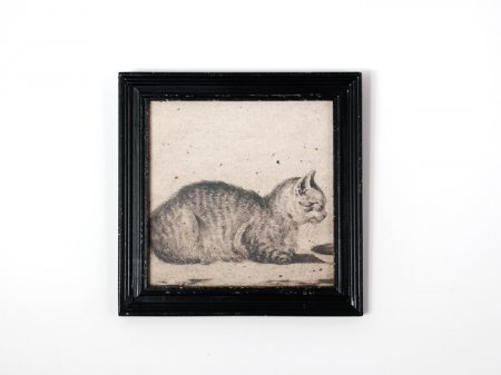 Frame Cat lying, antique decor, Chehoma