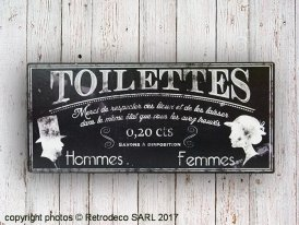 Black metal sign Toilettes, antique style, Antic Line