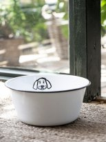 Large White enamel bowl for dog, retro deco, Ib Laursen