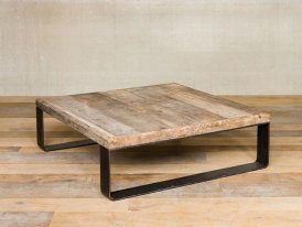 Metal and elm wooden low table Chehoma