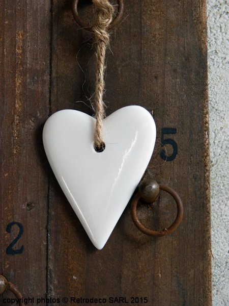 White Porcelain hanging heart, Christmas deco, Madam Stoltz