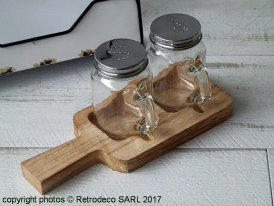 Mason Jar Salt & Pepper on wooden board, countryside style