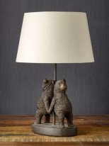 Metal and resin light bears with lampshade, Chehoma