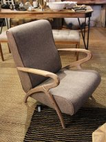 Mole fabric and oak wood armchair Mozet Chehoma