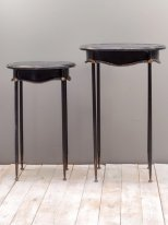 Set of 2 antique black metal complement tables Orleans Chehoma