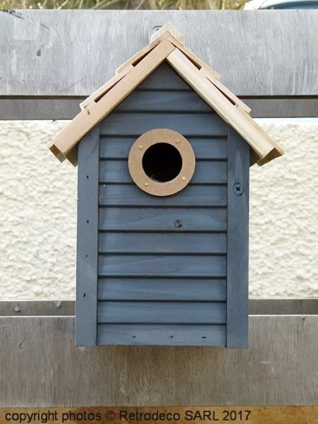 Grey wooden birdhouse, countryside style, Ib Laursen