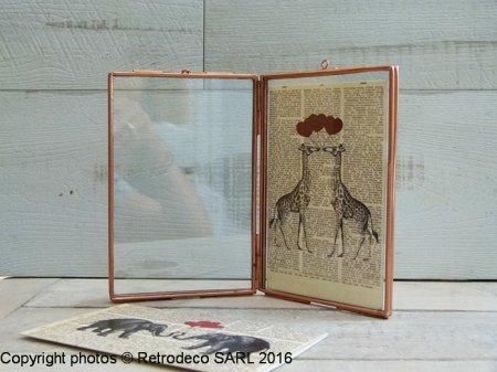Double photoframe glass and copper Small, Madam Stoltz