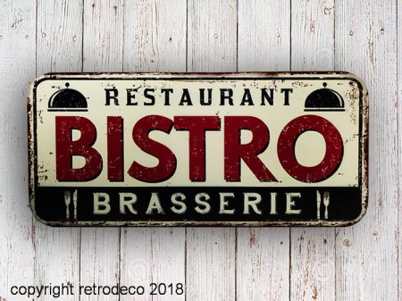 Metal sign Bistro, bistro style, Antic Line