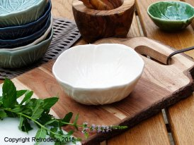 Ceramic Bordallo bowl white Van Verre, vintage style