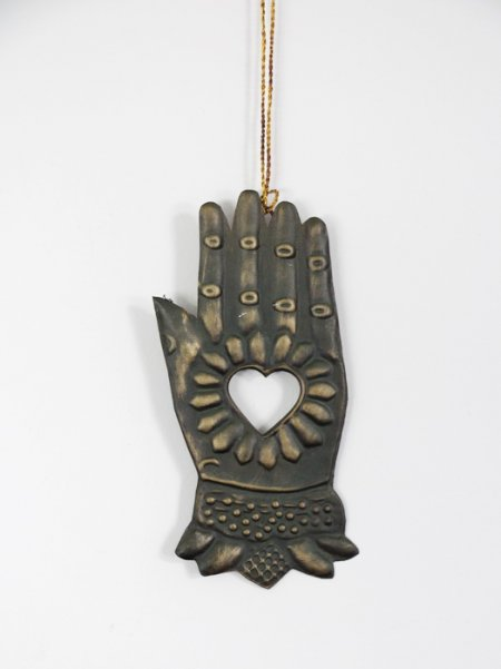 Antique brass metal ex-voto Hand to be suspended Chehoma