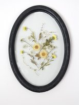 Wooden oval frame yellow dried flowers, antique decor, Chehoma
