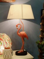 Resin light pink flamingo with lampshade Chehoma