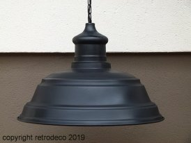 Extra large metal hanging light black, factory style, Antic Line