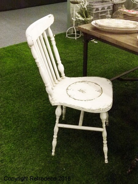 Metal white chair, antique deco, Chehoma
