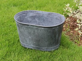 Medium zinc oval pot Urban Garden high Ib Laursen